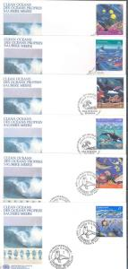 UNITED NATIONS SET OF SIX 1992  CLEAN OCEANS FDCs ON OFFICIAL CACHETS