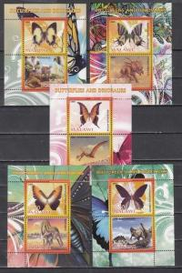 Malawi, 2008 Cinderella issue. Butterflies & Dinosaurs on 5 sheets of 2.