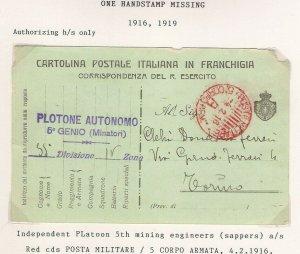 Italia 1916 PLOTONE AUTONOMO 5⁰ GENIO (MINATORI) POSTA MILITARE 5⁰ CORPO ARMATA