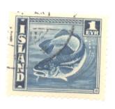 Iceland Sc 217 1939 1e codfish stamp used