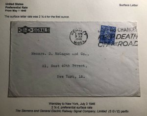 1946 Wembley England Commercial Cover To New York USA Perfin Stamp
