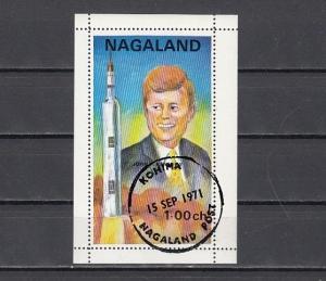 Nagaland, 1971 India Local. President J. Kennedy s/sheet. Canceled.