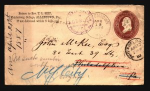 US 1887 Allentown Cnr Card Stationery Cover / Returned / Crease - L4807