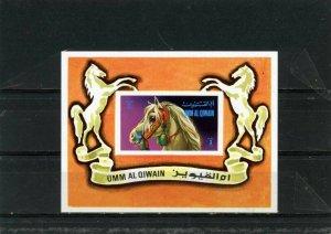 UMM AL QIWAIN 1972 Mi#Bl.38 HORSES S/S MNH