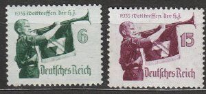 Stamp Germany Mi 584-5 Sc 463-4 1935 WWII Third Reich War World Meeting MH