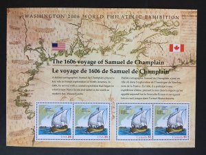 2006 US/Canadian Souvenir sheet Champlain 400th Anniversary Sc # 4074/2156