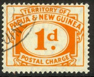 PAPUA NEW GUINEA 1960 1d Orange POSTAAGE DUE Sc J7 VFU
