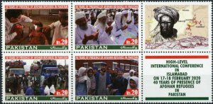 Pakistan Stamps 2020 MNH Presence of Afghan Refugees 40 Years 4v Block B + Label