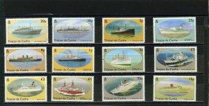 TRISTAN DA CUNHA 1994 SHIPS SET OF 12 STAMPS MNH