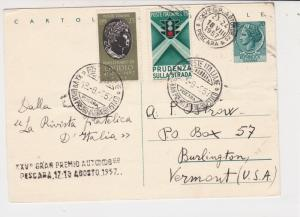 Italy 1957 Celeb. Italian Grand Prix Stamps & Cancels Card to USA ref  22443
