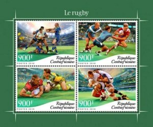 Central Africa - 2018 Sport of Rugby - 4 Stamp Sheet - CA18611a