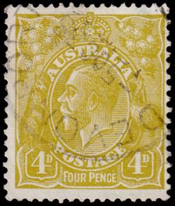 Australia Scott 118, Perf. 13.5 x 12.5, Olive Bister (1933) Used F-VF M