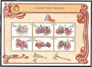 Gambia #1747  4d  Classic Fire Engines  Sheet  of 6 (MNH) CV5.75