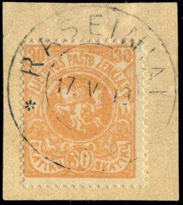 LITUANIE / LITHUANIA - 1919 - RASEINIAI cds on Mi.43 on piece
