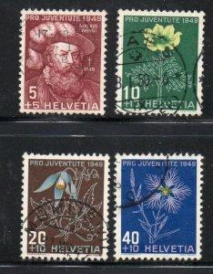 Switzerland Sc B187-90 1949 Alpine Flowers Pro Juventute stamp set used