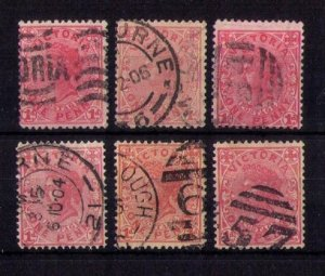 VICTORIA (COLOR SHADES) SCOTT #194 x6 Early Australian States F-VF