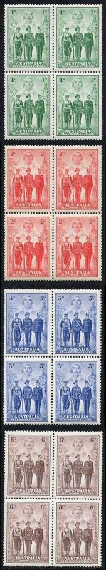 Australia SG196/9 Imperial Forces Set U/M Blocks of Four