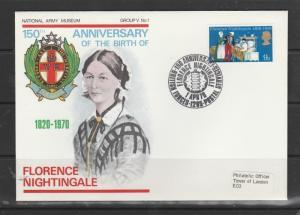 GB FDC 1970 Anniv 9d Florence Nightingale, BFPO 1205 special cancel, National Ar