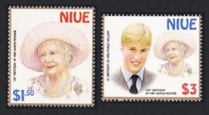 Niue William and Queen Mother Birthdays 2v SG#879-880 SC#746-747