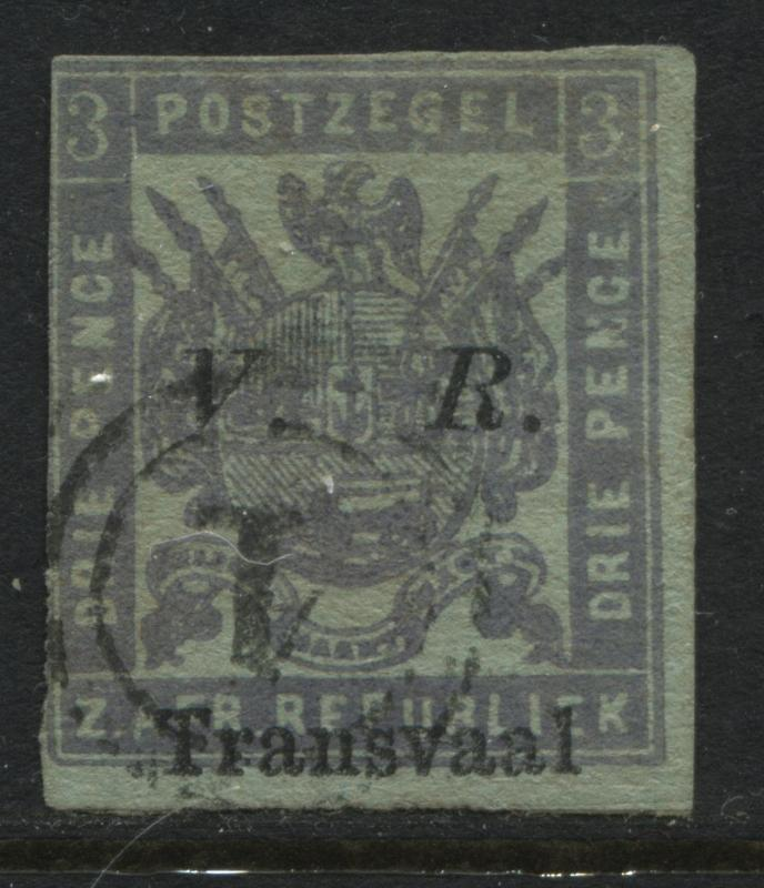 Transvaal 1877 3d overprinted VR Transvaal used (JD)