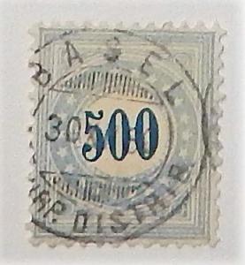 Switzerland J9. 1878-80 500c Ultramarine postage due, used
