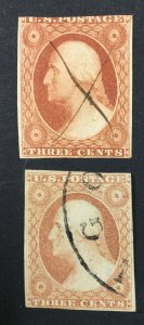 MOMEN: US STAMPS #10-11 USED $200 LOT #44850