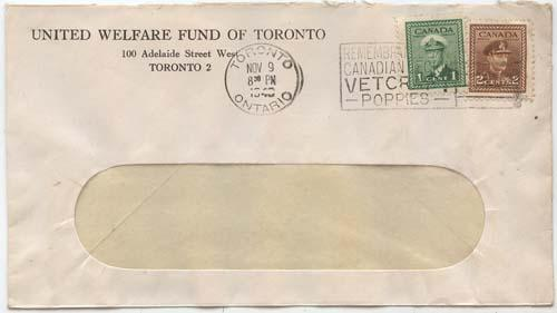Canada #249-250 on 1943 Cover United Welfare Fund of Toronto - Newly Founded