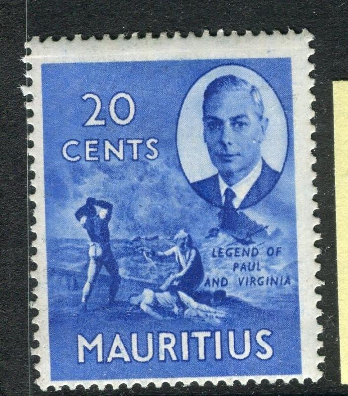 MAURITIUS;  1950 early GVI issue fine Mint hinged 20c. value