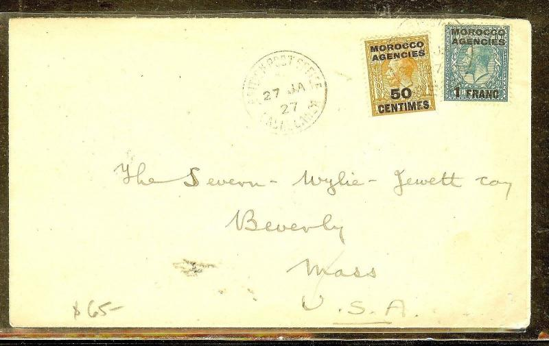 MOROCCO AGENCIES (P1206B) 1927  KGV 50C+1F CASABLANCA TO USA