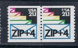 US#2150a $0.21.1 Envelope coil pair  (MNH) CV $0.80