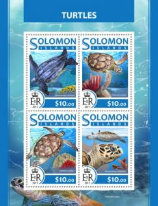 SOLOMON ISLANDS - 2017 - Turtles - Perf 4v Sheet - MNH