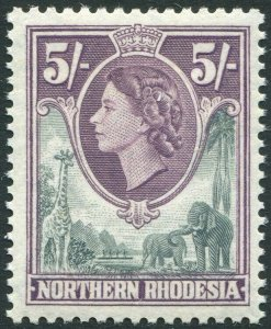 NORTHERN RHODESIA-1953 5/- Grey & Dull Purple Sg 72 UNMOUNTED MINT V35942