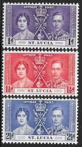 St Lucia 107-109 Unused/Hinged Hinge Remnant - George VI Coronation