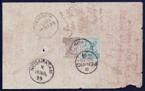 Malaya 1899 Penang, Malaya to Devakota Madura District via Negapatam India