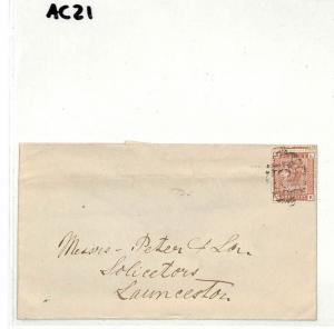 AC21 GB POSTMARKS 1881 Callington '781' VOS Numeral Launceston Cornwall Cover
