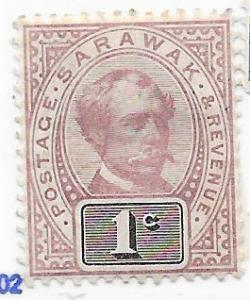 Sarawak #8 1c  Charles Brooke (MH) CV$4.75