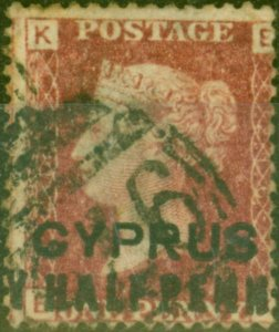 Cyprus 1881 1/2d on 1d Red SG7 Pl 216 Fine Used