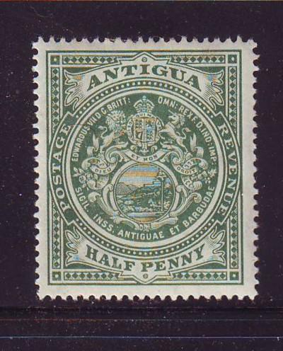 Antigua Sc 31 1908 1/2d green Seal of Colony stamp mint