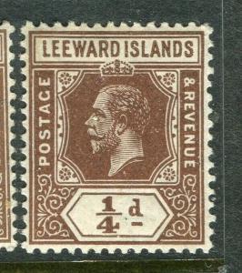 LEEWARD ISLANDS; 1912 early GV issue fine Mint hinged 1/4d. value, Shade