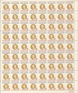 US Stamp - 1959 8c Ernst Reuter - 72 Stamp Sheet - Scott #1137