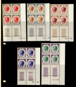 Monaco 1968-9 Prince RainIer III 4 Stamp  Blocks No & Design in Selvage 20 Stam