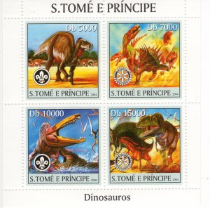 Sao Tome and Principe 2004 DINOSAURS-ROTARY-SCOUTS Sheetlet (4) MNH