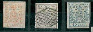09127  ANTICHI STATI - PARMA Sass 9, 11 LINGUELLATI + 10 USATO