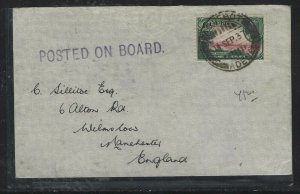CEYLON COVER   (PP1108BB)  KGV  30C 1937 PAQUEBOT POSTED ON BOARD TO ENGLAND