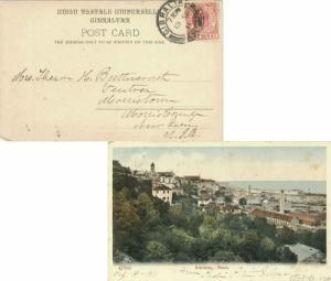 Gibraltar 1d KEVII 1911 Gibraltar, 25 PPC (Gibraltar Rosia town view) to Morr...