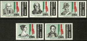 MEXICO 1398-1402, 175th Anniv of Independence stamps set MINT, NH. F-VF.