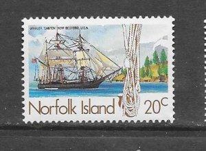 NORFOLK ISLAND #358  WHALING SHIP  MNH