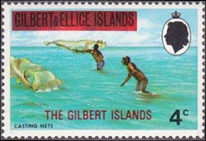 Gilbert Islands # 256 mnh ~ 4¢ Fishermen Casting Nets, overprint