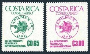 Costa Rica C594-C595,MNH.Michel 873-874. EXFILMEX-1974,UPU-100.