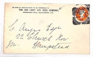 BG61 GB ADVERT STATIONERY 1896 *London NW*Squared Circle GAS LIGHT COKE Co Cover